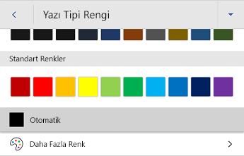 Android için Word yazı tipi rengi menüsü