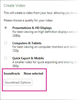 Video Oluştur iletişim kutusu