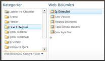 web bölümü seçicisi, eklemek istediğiniz iş görevleri web bölümüne gitmenizi sağlar.
