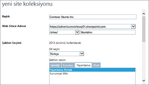 Yayımlama Portalı ile üst yarım Yeni Site koleksiyonu iletişim kutusu vurgulanmış