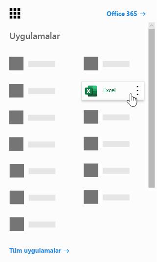 Excel uygulamasının vurgulandığı Office 365 uygulama başlatıcı
