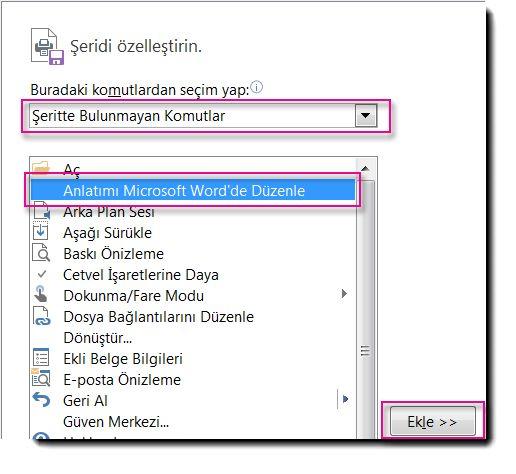 Publisher QAT'ye Anlatımı Microsoft Word'de Düzenle düğmesini ekleme