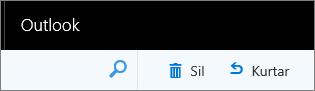 Web üzerinde Outlook araç çubuğundaki Sil ve Kurtar seçeneklerini gösteren ekran görüntüsü.