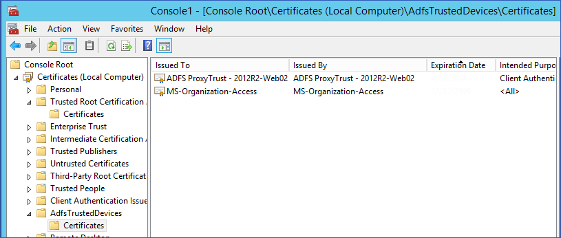 AdfsTrustedDevices certificates