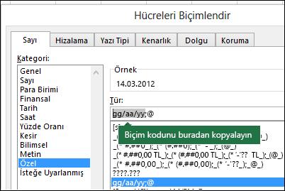 Excel'in sizin yerinize biçim dizeleri oluşturmasını sağlamak için Biçimlendir > Hücreler > Sayı > Özel iletişim kutusu örneği.