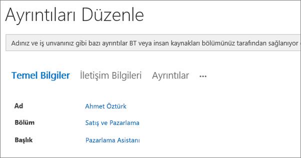 Bir Yammer kullanıcısı için Ayrıntıları Düzenle sayfasını gösteren ekran görüntüsü