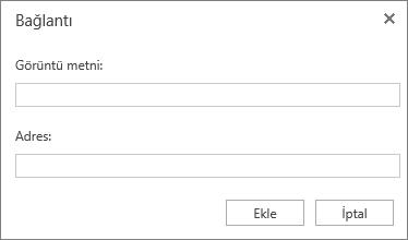 Köprü bilgileri için Görüntü Metni ve Adres alanlarını içeren Bağlantı iletişim kutusunun ekran görüntüsü.