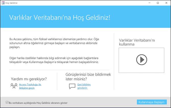 Access Varlıklar veritabanı şablonundaki Başlarken formu