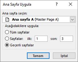 Bir ekran ana sayfa Uygula iletişim kutusunu gösterir.