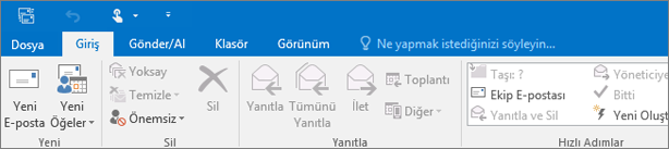 Outlook 2016'da şerit böyle görünür.