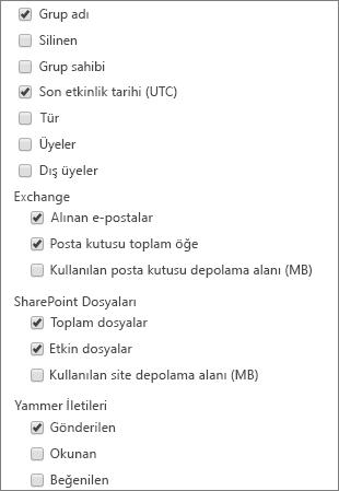 Office 365 grupları raporu - Sütunları seçme