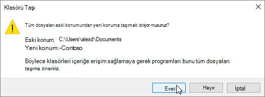 Hedef iletişim kutusunun seçin Klasör Seç'i tıklattığınızda görüntülenen uyarıyı gösteren ekran görüntüsü.