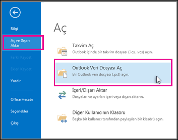 Outlook veri dosyasını açma