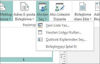 Posta Gönderileri Alıcıları Seç düğmesi seçenekleri