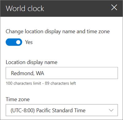 SharePoint siteleri için World saati Web Bölümü 'nün, görünen adı ve saat dilimini özelleştirmeyi gösteren araç kutusu