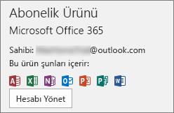 Office'le ilişkilendirilmiş olan e-posta hesabını gösterir.