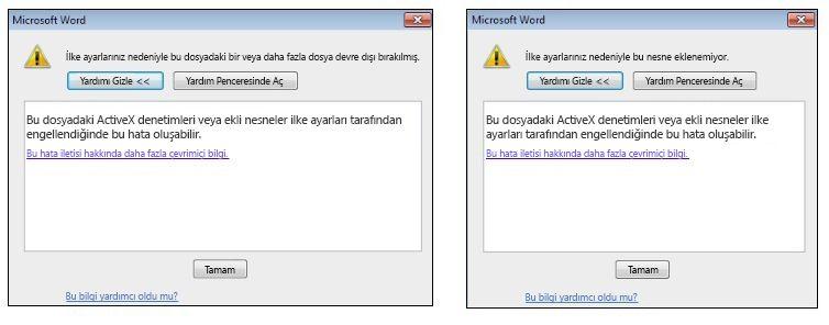 Ekli nesne ActiveX denetimi hata iletisi