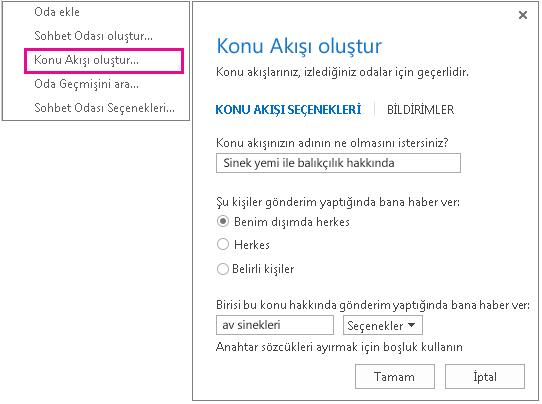 Konu akışları oluşturmaya yönelik menü seçimini ve pencereyi gösteren ekran görüntüsü