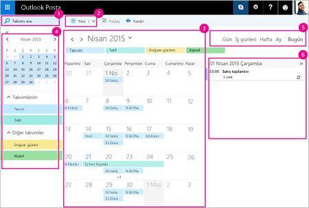 Toplantılarınızı ve diğer etkinlikleri yönetmek için takvimi kullanın.