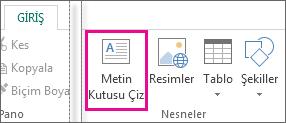 Publisher'daki Metin kutusu çiz ekran görüntüsü.