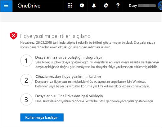 OneDrive Web sitesinde ekran görüntüsü ransomware işaretlerini algılandı
