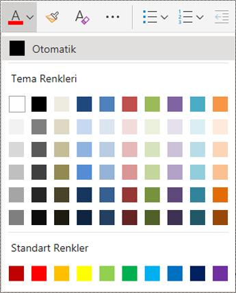 OneNote Online'da yazı tipi rengi menü seçenekleri.