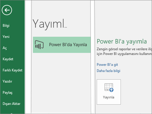 Excel 2016'da Power BI'de Yayımla düğmesinin gösterildiği Yayımla sekmesi