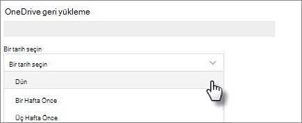 OneDrive'ınızı Geri Yükleyin ekranında bir tarih seçmenin ekran görüntüsü