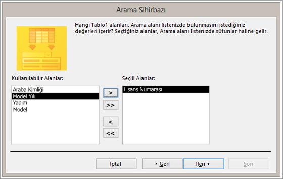 Arama Sihirbazı'nın ekran alıntısı