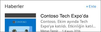 Ekle bağlantısını gösteren ekran görüntüsü