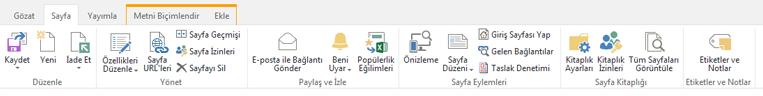 Yayımlama sayfalarını düzenleme, kaydetme, kullanıma alma ve iade etmeye yönelik çeşitli düğmeler içeren sayfa sekmesinin ekran görüntüsü