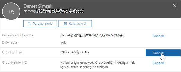 Ürün lisanslarını düzenleme eylemini gösteren ekran görüntüsü