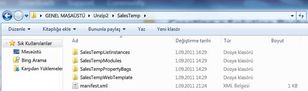 Sıkıştırması açılmamış Web Çözüm Paketi'nin (.wsp) görüntülendiği Windows Explorer ekran görüntüsü.