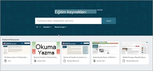 Ana ekranda OneNote eğitim kaynakları ikinci sürümü