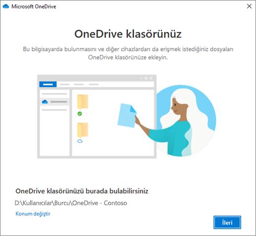 OneDrive'a Hoş geldiniz sihirbazındaki Bu Sizin OneDrive Klasörünüz ekranı