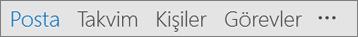 Ad, posta, takvim, Insanlar ve görevler düğmeleri ve daha fazlası (üç nokta veya elips)