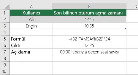 Örnek: Saatleri standart saat biçiminden ondalık sayıya dönüştürme
