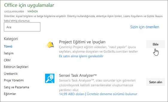 Sayfasının ekran görüntüsü Office eklentileri seçebileceğiniz deposunda veya proje için bir eklenti arayın.