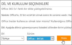 Dil ve sürüm seçenekleriyle Yükle düğmesini gösteren ekran görüntüsü