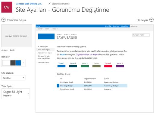 Grafiğinizin 's renkleri, yazı tiplerini ve Düzen düzenleme