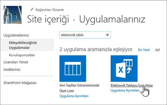 Yeni uygulamalar iletişim kutusunda Elektronik tablo uygulaması içeri aktar vurgulanmış