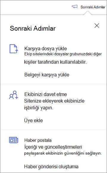 OneDrive Iş 'te yeni bir paylaşılan kitaplık oluşturduktan sonra sonraki adımlar bölmesi