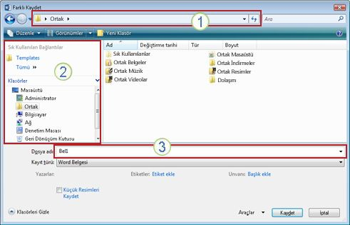 Windows Vista ve Windows 7 Farklı Kaydet iletişim kutusu