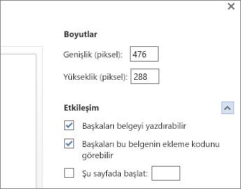 Word belgesi ekleme seçenekleri