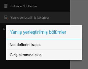 Android için OneNote Not defterini Kapat komutu