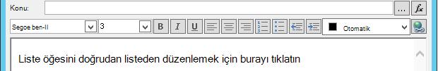 Değişken ekledikten sonra e-posta Iletisi ekranını tanımla