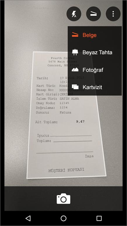 Android için Office Lens'te resim yakalama işleminin ekran görüntüsü.