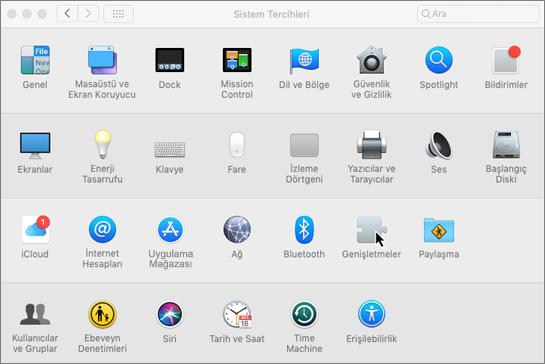 Mac'teki sistem tercihlerinin ekran görüntüsü