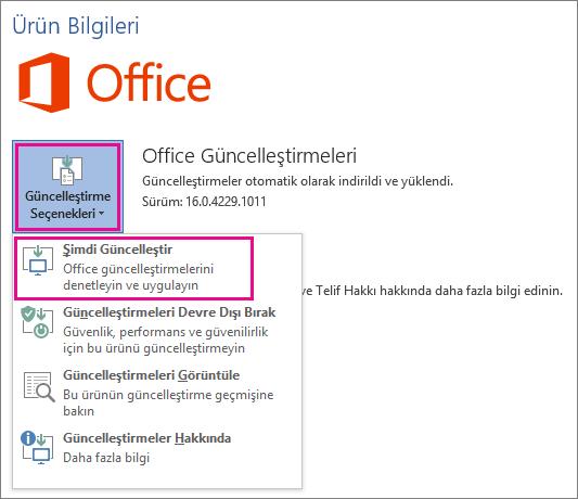Word 2016'da Office güncelleştirmelerini el ile denetleme