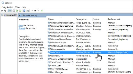 WebClient vurgulanmış olarak Windows Hizmetleri iletişim kutusu
